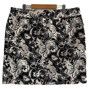 Geoffrey Been Stretch Twill Skirt Blk Wht US 16